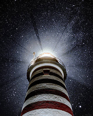 Photograph - Beacon In The Night West Quoddy Head Lighthouse by Marty Saccone