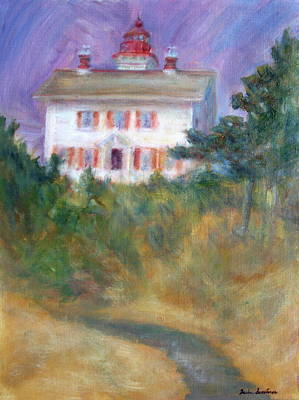 Beacon On The Hill - Lighthouse Painting Art Print by Quin Sweetman