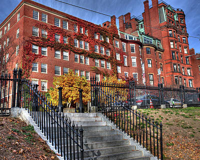 Photograph - Beacon Street Boston Architecture Red Autumn Ivy Boston Ma by Toby McGuire