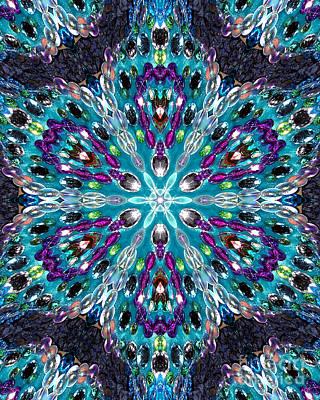 Beadwork Digital Art - Bead Mosaic Digital Kaleidoscope 3 by Sofia Metal Queen