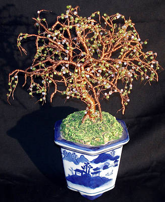 Sculpture - Beaded Bonsai Beaded Wire Tree Sculpture by Sal Villano