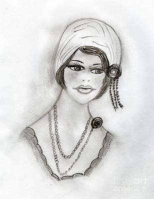 Drawing - Beaded Flapper Girl by Sonya Chalmers