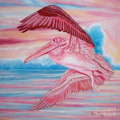 Mixed Media - Chloe The Flying  Lamb       Beaded Pink Pelican by Sigrid Tune