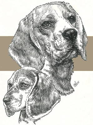 Mixed Media - Beagle And Pup by Barbara Keith
