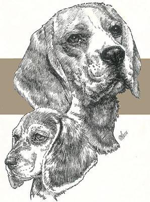 Mixed Media - Beagle And Pup by Barbara Keith