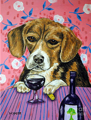 beagle at the Wine Bar Art Print by Jay  Schmetz