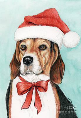 Beagle Christmas Art Print