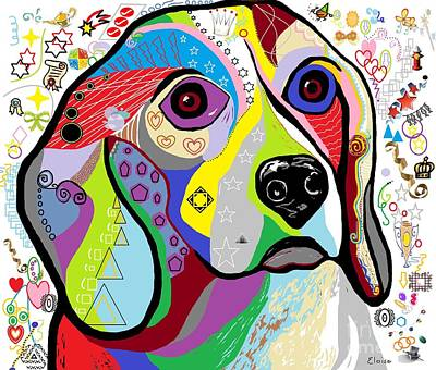 Fun Mixed Media - Beagle by Eloise Schneider