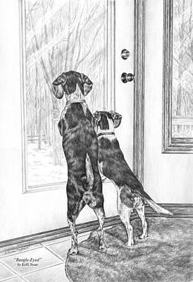 Pencil Drawing Drawing - Beagle-eyed - Beagle Dog Art Print by Kelli Swan