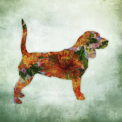 Watercolor Pet Portraits Digital Art - Beagle Floral On Green by Flo Karp