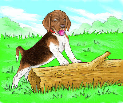 Digital Art - Beagle On Farm by Gary Donald Sanchez