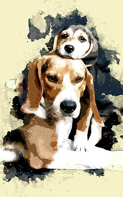 Beagle Puppies Painting - Beagles Daddys Little Girl by Elaine Plesser