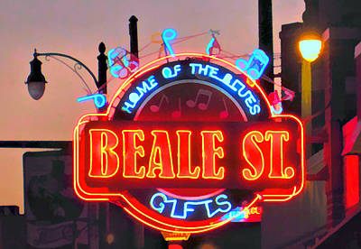 Mixed Media - Beale Street Sign Memphis by Dan Sproul