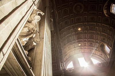 Photograph - Beam Of Light On Statue Ion Vatican  by John McGraw