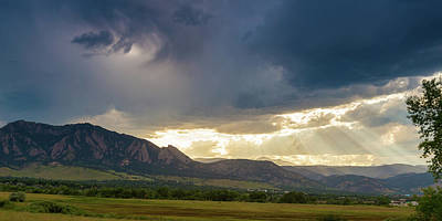 Photograph - Beams Of Sunlight On Boulder Colorado Foothills by James BO Insogna
