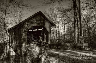 Bean Blossom Bridge Sepia Tone Art Print by Mel Steinhauer