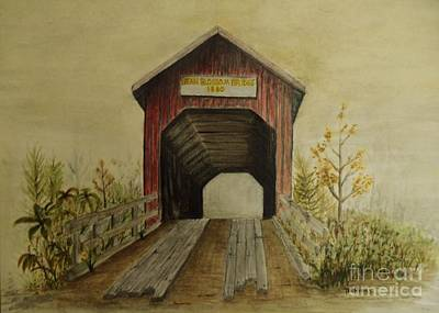 Covered Bridge Painting - Bean Blossom Covered Bridge by Ted Reeves