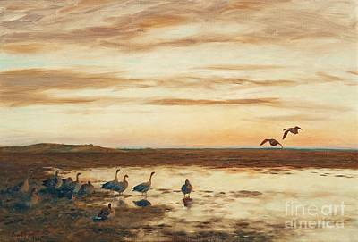 Bruno Painting - Bean Geese by Celestial Images
