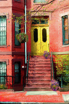 Painting - Beantown Brownstone With Yellow Doors by Thomas Logan