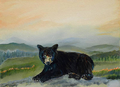 Painting - Bear Alone On Blue Ridge Mountain by Jan Dappen