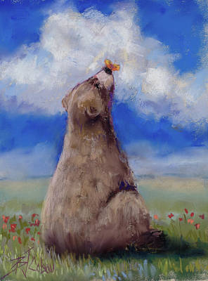 Pastel - Bear And Butterfly by Billie Colson