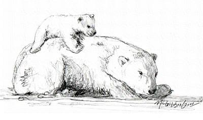 Drawing - Bear And Cub by Dan McGibbon