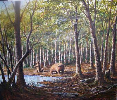 Painting - Bear And Her Cubs by Perrys Fine Art