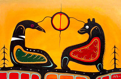 Thunder Painting - Bear And Loon by Francis Esqega