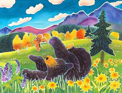 Colorado Wildlife Wall Art - Painting - Bear And The Butterfly by Harriet Peck Taylor