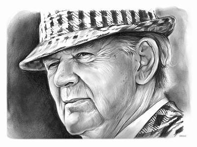 Football Drawing - Bear Bryant 2 by Greg Joens