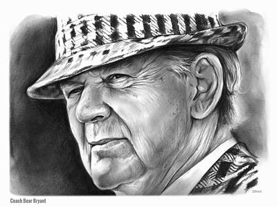Football Drawing - Bear Bryant by Greg Joens