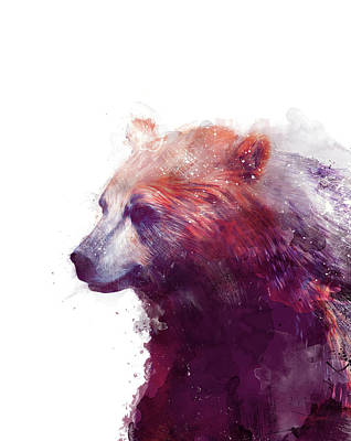 Grizzly Painting - Bear // Calm - Right // White Background by Amy Hamilton