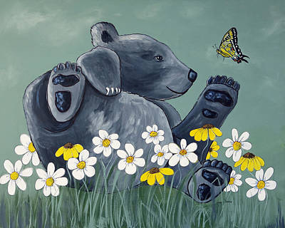 Painting - Bear Cub Flower Frolic by Kenny Francis