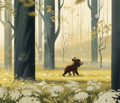 Childrens Books Digital Art - Bear Cub In The Trees by Janna Mattia