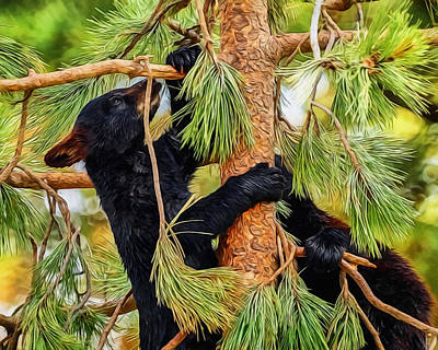 Digital Art - Bear Cubs Playing In A Tree by Ernie Echols