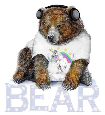 Bear Dj Art Print by Kara Skye