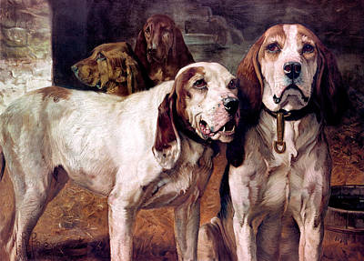 Winchester Painting - Bear Dogs Without Border by H R Poore