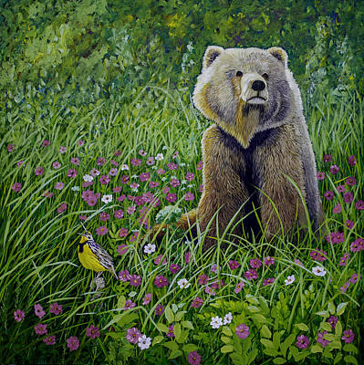 Meadowlark Painting - Bear Enjoying Mother Nature by Manuel Lopez