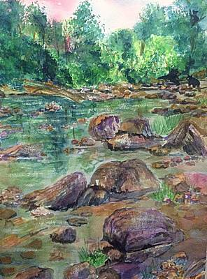 Painting - Bear Family At Catskill Creek  by Ellen Levinson