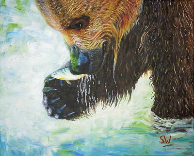 Painting - Bear Fishing by Shirley Wellstead