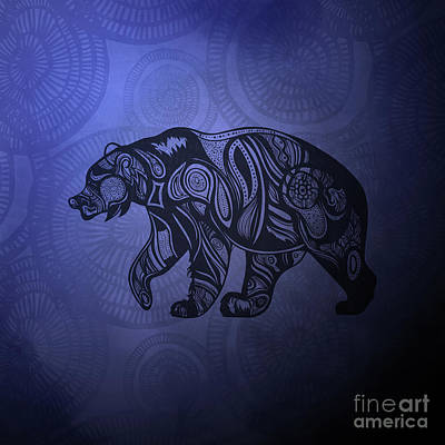 Blue Doodle Drawing - Bear by HD Connelly