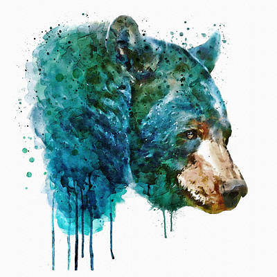 Painted Face Mixed Media - Bear Head by Marian Voicu