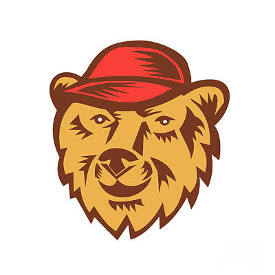 Bear Head Wearing Hat Woodcut Art Print
