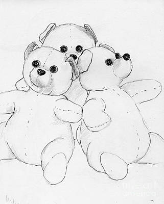 Drawing - Bear Huddle by Nareeta Martin