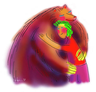 Drawing - Bear Hug by Angela Treat Lyon