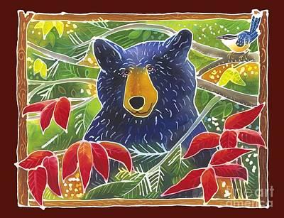 Batik Wildlife Painting - Bear In The Sumac by Harriet Peck Taylor