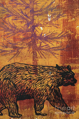 Log Cabins Mixed Media - Bear In The Woods by Gina Stark
