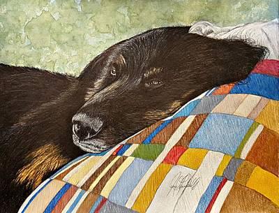 Lazy Dog Painting - Bear by Jennifer Campbell Brewer