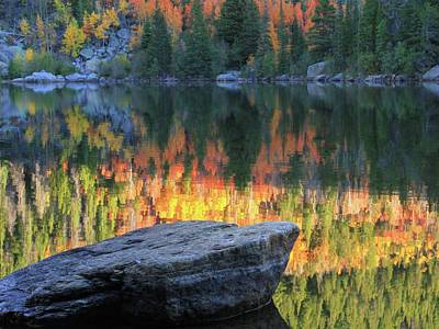 Photograph - Bear Lake Colorado Autumn Reflection by Dan Sproul