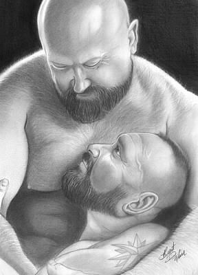 Homoerotic Drawing - Bear Love 4 by Brent  Marr
